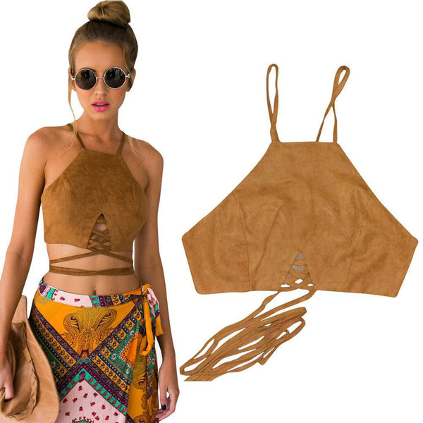 Online discount shop Australia - Brown Faux Leather Suede Tank Top Sexy Lace Up Camis Women Tops Slim Cami Party Crop Top Fall Vest