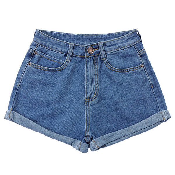 Plus Size 25-32  High Waist Casual Jeans Denim Shorts For Women