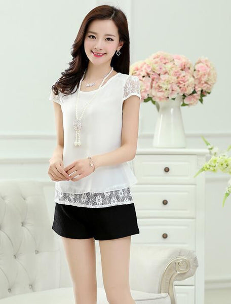 Sexy Women's Tops White Tees Crochet Lace Floral Shoulder Short Sleeve Loose Chiffon Blouses Female Shirts
