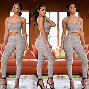 New Style Women Rompers Fashion Bodycon Halter Jumpsuit Two Piece Sexy Rompers Womens Jumpsuit