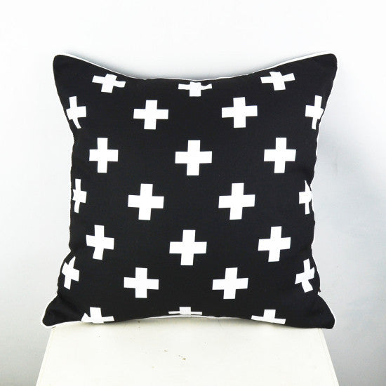 Online discount shop Australia - 45*45 cm Black White Swiss Cross Decorative Throw Cushion Cover Pillow Case for Bedding Sofa