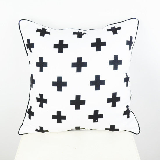 45*45 cm Black White Swiss Cross Decorative Throw Cushion Cover Pillow Case for Bedding SofaWhite450mm*450mma