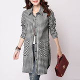 Online discount shop Australia - large size female literary plaid long-sleeved shirt and long shirt wide Shirts Women Casual Cotton Linen Shirt Tops