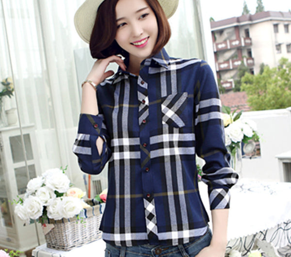 new Fashion 16 colors girl's plaid flannel casual shirt female long sleeve plaid shirt ladies plus size women's Tops