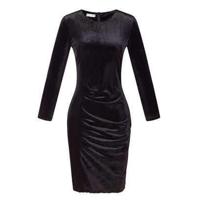 New Fashion Women Spring Dress Pure Color Soft Casual Gold velvet Dresses Long Sleeve Casual Sexy Line Vestidos S118