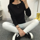 Online discount shop Australia - Knitted Women Sweaters And Pullovers Female Long Sleeve Jumper White Black Gray Pull