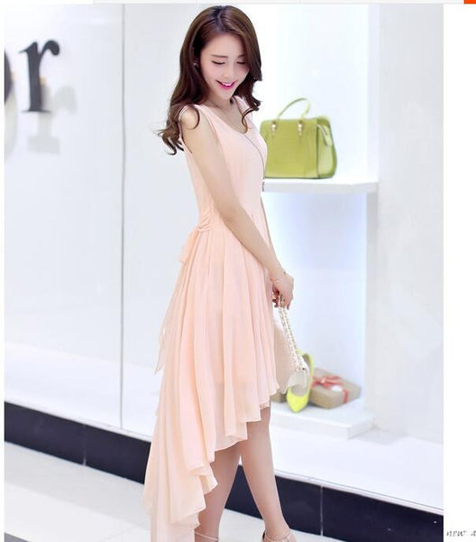 Quality Irregular Lady Dress Summer New Fashion Elegant Women Dovetail Dress Bohemia Beach Dress Chiffon Dresses For Girls