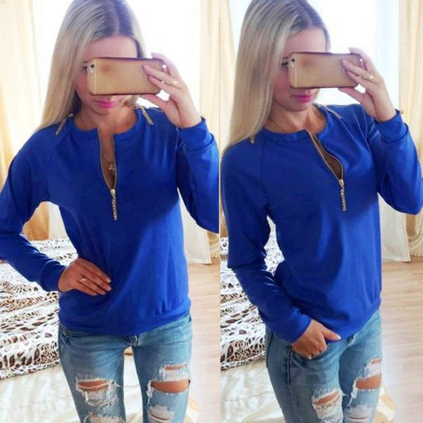Online discount shop Australia - Casual Ladies V-Neck Long Sleeve Hoodie Women Jumper Pullover Tops