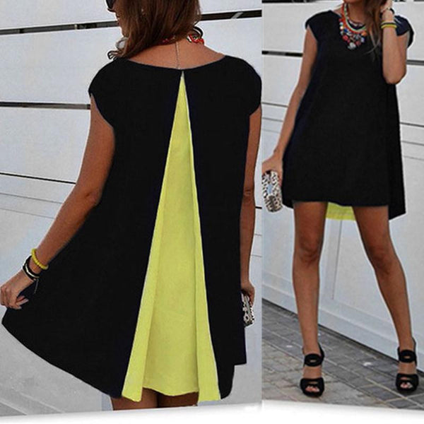 Style Women Patchwork chiffon Blouse Top Ladies O neck Short Sleeve Loose Casual Shirts Dress Plus Size