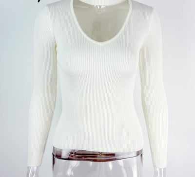 Online discount shop Australia - black halter knitted sweater White sexy pullover women tops Slim v neck long sleeve chic jumper pull