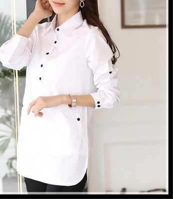 Online discount shop Australia - Blouse shirt Women White Shirt plus size elegant Cotton Women's shirt Women Blouse women tops
