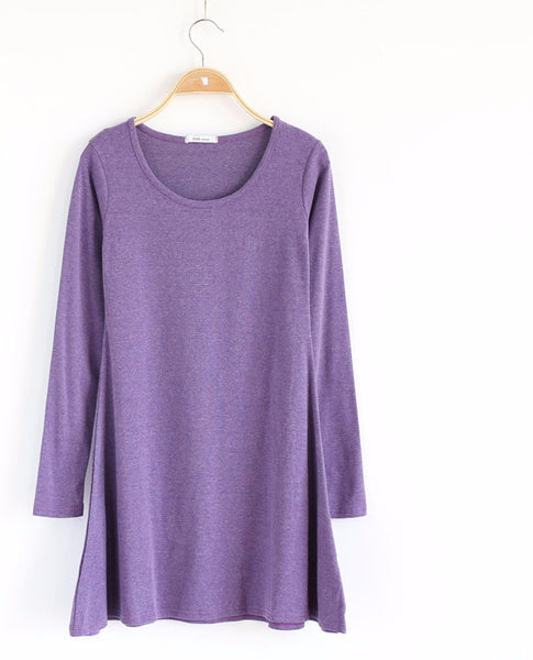 Online discount shop Australia - 100% Cotton Autumn Winter Dress Female Long Sleeve Dress O-Neck Woolen Dresses A006