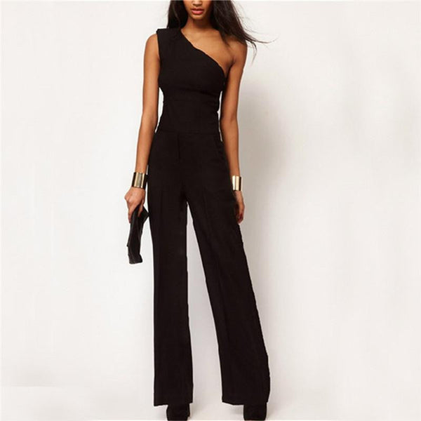 Style Black Chiffon Women Long Rompers Jumpsuit Sexy One Shoulder Off Empire Club Party Playsuits Overalls