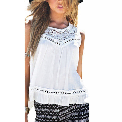 Women Style Lace Crochet Chiffon Blouse Sleeveless Casual Tops Lace Hollow Solid Shirts Plus Size