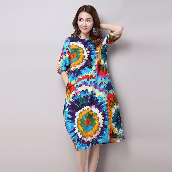 Vintage Print Loose Casual Long Dress Plus Size Women's Cotton Linen Summer Dresses H200