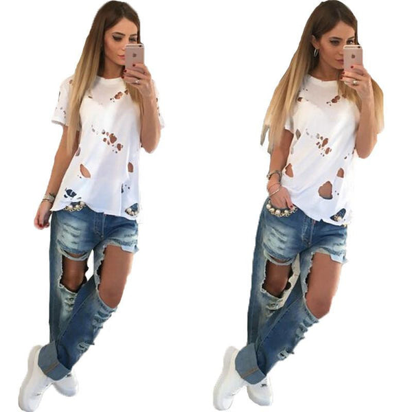Online discount shop Australia - Hole Beggar white black t shirt women wild hollow burning flowers ripped fashion hollow out short-sleeved t-shirt Women Tops