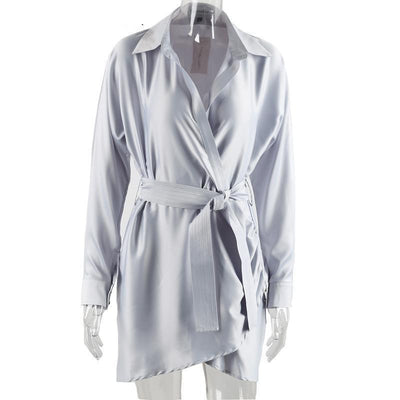 Online discount shop Australia - belt satin wrap dress shirt Elegant long sleeve party sexy dress Winter club short women dress vestidos