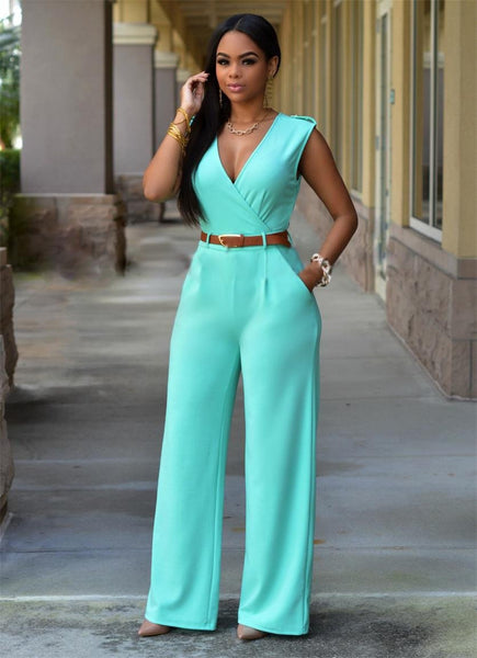 Women Sexy Jumpsuits Lady Loose Slim Overalls Party Womens Sleeveless Night Club Rompers With Belt