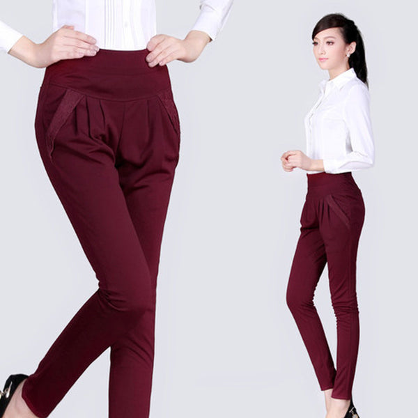 New Fashion Women's Casual Trousers Fashion High Waist Lace Pocket Plus Size S-4XL Loose Casual Harem Pants
