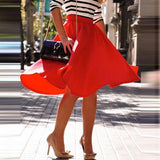 Womens Skirts Elegant Solid High Wasit Slim Chiffon Pleated A-line Knee-length Skirt Female Skirts Plus Size