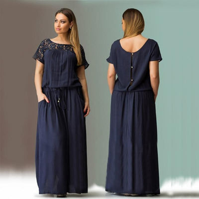 Short Sleeve Lace Summer Autumn Dress Women Big Plus Size Long Maxi Party Vintage 5XL 6XL Loose Vacation Hollow Blue Unique