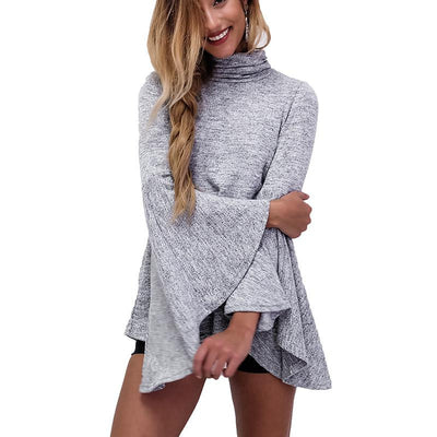 Online discount shop Australia - Gray Turtleneck Casual Women Blouse Long Sleeve Knitted Back Slit Office Work Ladies Shirt Tops