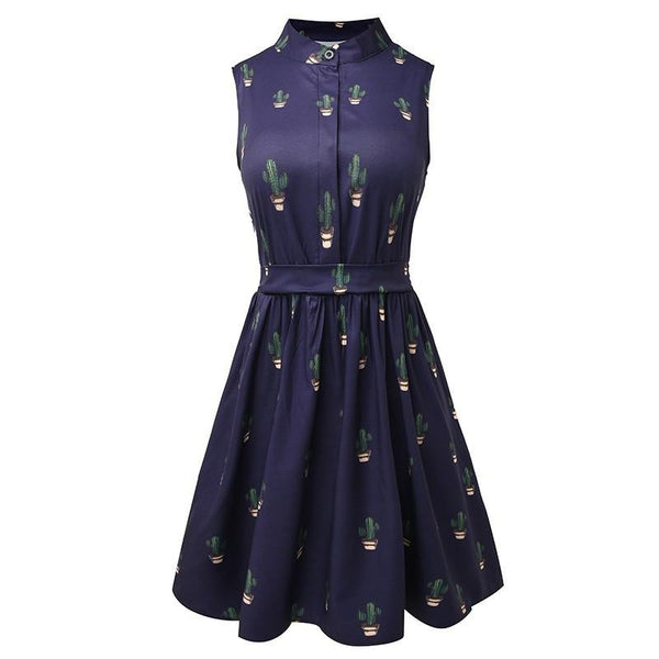 Vestods Summer Style Women Dress Flamingo Fun Flare Prints Casual High Waist Cute A Line Mini Dress