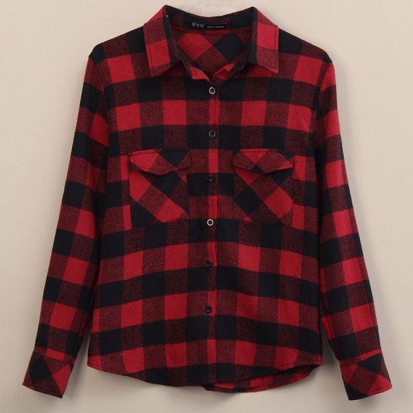 Womens Long Sleeve Blouses Lapel Casual Classical Black Red Plaid Shirts Tops US Plus Size 4-22