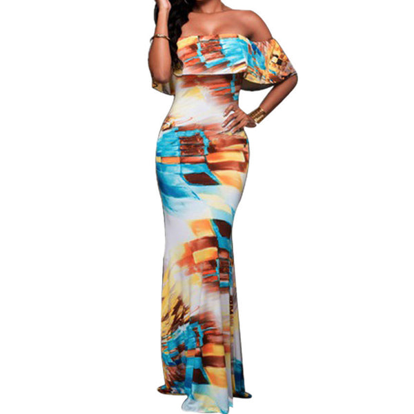 Online discount shop Australia - Boho Fashion Sexy Bodycon Long Summer Dresses Off The Shoulder Strapless Flower Print Backless Elegant Party Maxi Dress