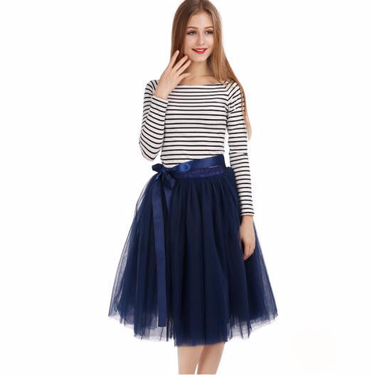 Online discount shop Australia - Best Quality 7 Layers Midi Tulle Skirt Tutu Skirts Womens Petticoat Elastic Belt Autumn