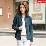 New Fashion Casual Lapel Plus Size Blouses women plaid shirt Checks Flannel Shirts Female Long Sleeve Tops Blouse