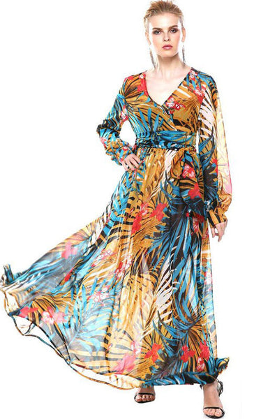 Online discount shop Australia - ACEVOG Brand Women Ladies Summer Autumn Loose Casual V-Neck Chiffon Long Maxi Beach Chiffon Dress Vestidos Longo