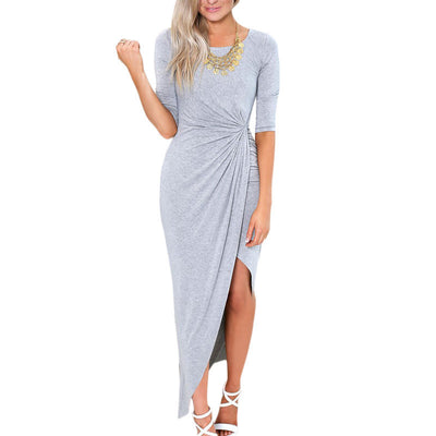 Online discount shop Australia - Knitting maxi women casual clothing chic elegant plus size crinkle long dress sexy