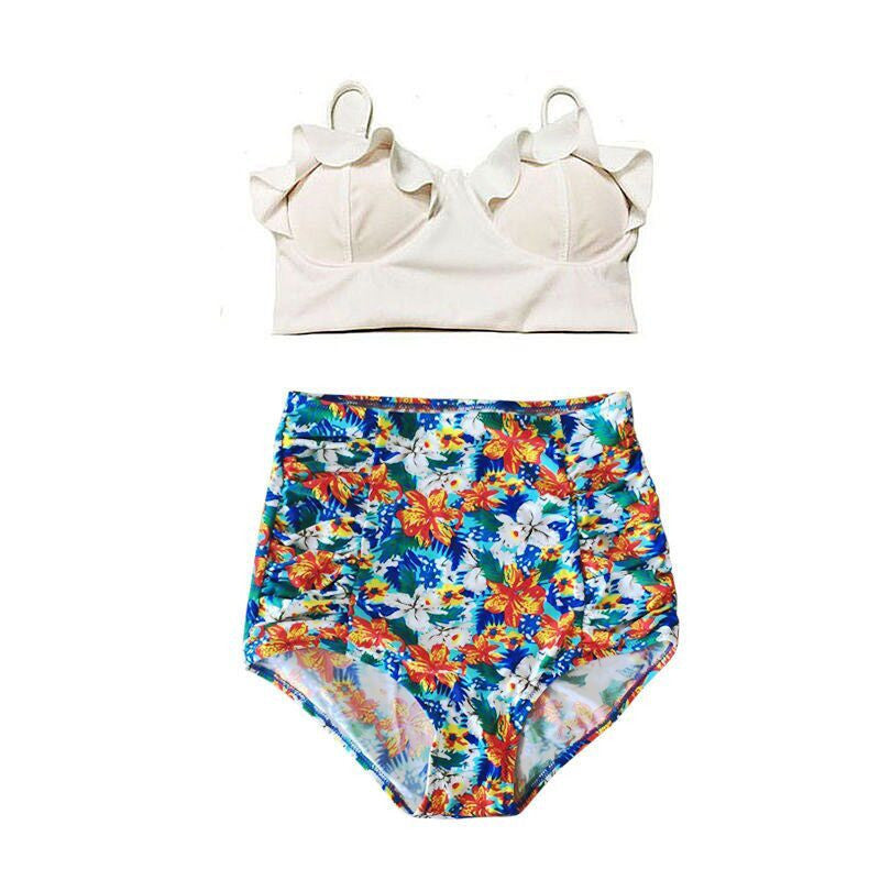 New Bikinis Women Swimsuit High Waist Bathing Suit Plus Size Swimwear Push Up Bikini Set Vintage Retro Beach Wear XXL01Ma