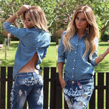 Online discount shop Australia - Fashion Women Sexy Blackless Blouse Heart Print Blue   Casual Down Collar Long Sleeve Back Split Shirt Top Plus Size
