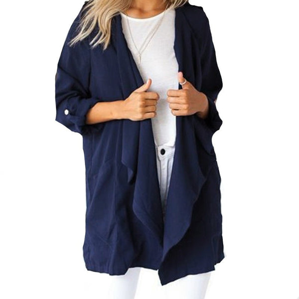 Online discount shop Australia - 3 Color New  Fashion Women  Long Sleeve Jacket Coat Solid Pocket Cardigan Tops  Plus Size