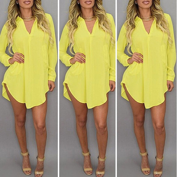 Women Casual Loose Long Chiffon Shirts Spring Long Sleeve Turn Down Collar Sexy Blouses Tops Plus Size Mini Dress Vestidos