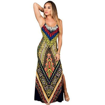 e289f75f2430a Women Summer Maxi Dress Long Ladies Party Dresses Plus Size Robe Sexy  Sundress Backless Bandage Boho Split Bodycon Dress
