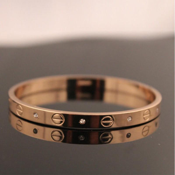 Trendy Rose Gold Silver Bracelet for Women Bangle Lover Bracelet Jewelry Titanium Love Bracelet Bangle Pulseiras H0009