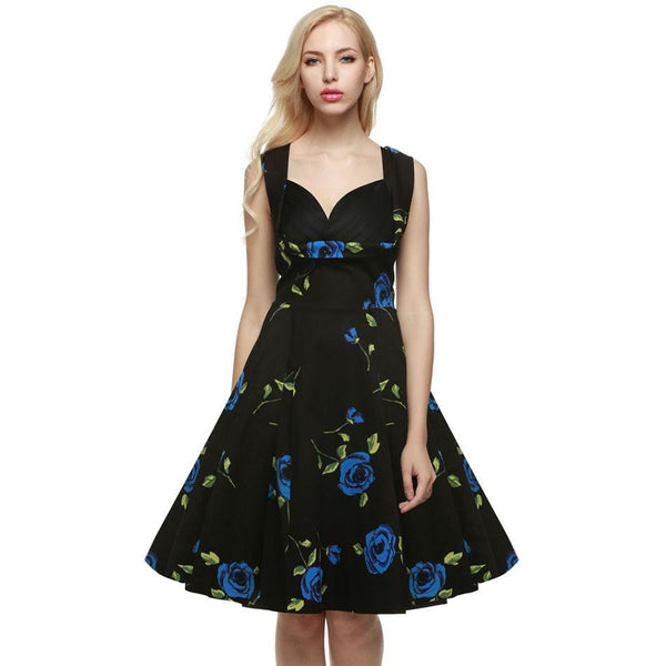 Vintage Elegant Women Dress V-Neck High Waist Big Bust Design Sleeveless Casual Patchwork Party Midi Pleated Swing Dress