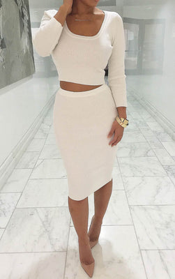 Online discount shop Australia - New Autumn Winter 2 Piece Set Women Long sleeve party dresses Sexy bandage dress women dress