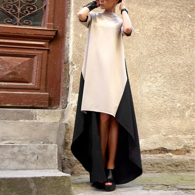 ZANZEA Spring Summer Ladies Trendy Turtleneck Irregular Hem Patchwork Dress Women Maxi Long Dresses Vestidos Plus Size