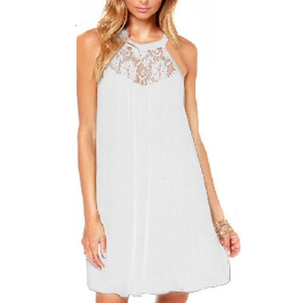 Women Sexy Casual Sexy Lace Chiffon Dresses Sleeveless Loose Party Mini Solid Dress Vestidos Plus Size