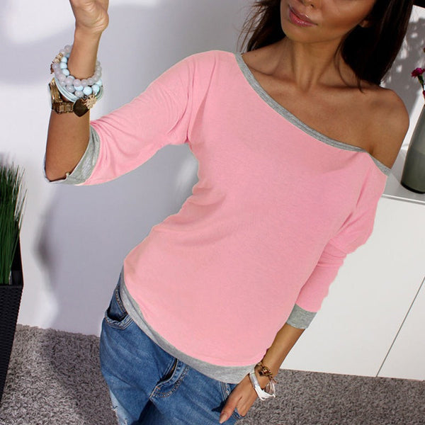 Online discount shop Australia - Cotton Shirt  Women Sexy Off Shoulder 3/4 Sleeve Casual Crew Neck Tee Tops Sexy Ladies Candy Color
