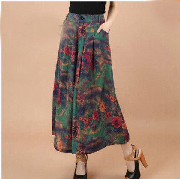 Plus size Summer Women Print Flower Pattern Wide Leg Loose Linen Dress Pants Female Casual Skirt Trousersshui caiMa