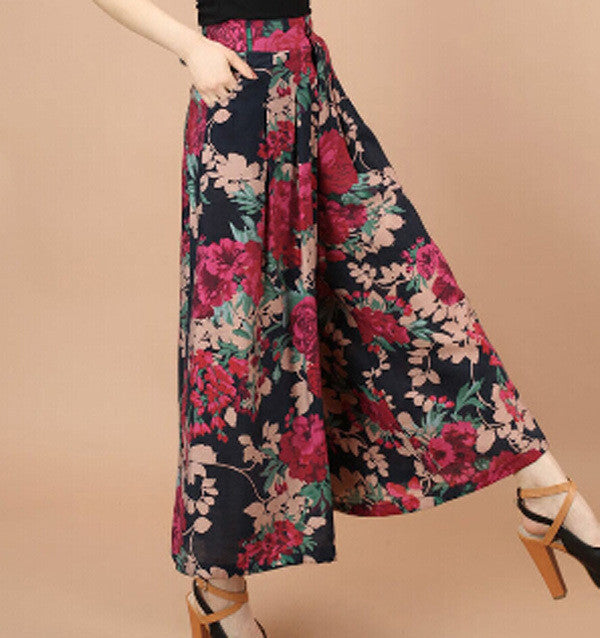 Plus size Summer Women Print Flower Pattern Wide Leg Loose Linen Dress Pants Female Casual Skirt Trousersfu gui huaMa