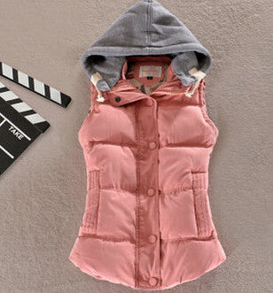 Women Fashion Waistcoat Hooded Thick Warm Down Cotton Wool Collar Vest Female Large Size Jacket&Outerwear BN293