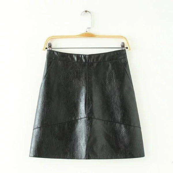 PU faux leather women skirt pink yellow black back zipper