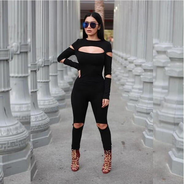Women Bodycon Jumpsuit Long Sleeve Hollow Out Fahion Sexy Club Overalls Bodysuit Rompers Womens Jumpsuits