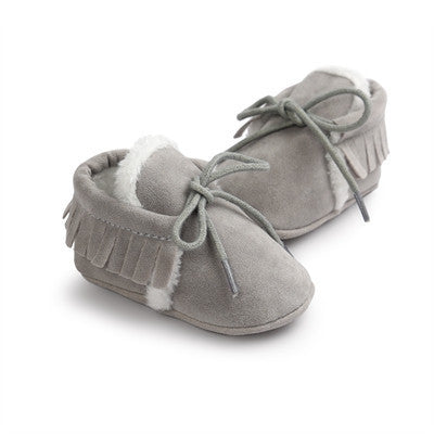 Baby Boy Girl Baby Moccasins Soft Moccs Shoes Bebe Fringe Soft Soled Non-slip Footwear Crib Shoes New PU Suede Leather NewbornPlus velvet 5a